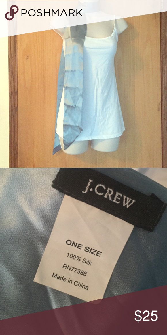 J. crew 100% silk scarf. BN Brand new J. CREW light blue 100% silk scarf/ neck wrap. No tags. Creases from folding. J. Crew Accessories Scarves & Wraps