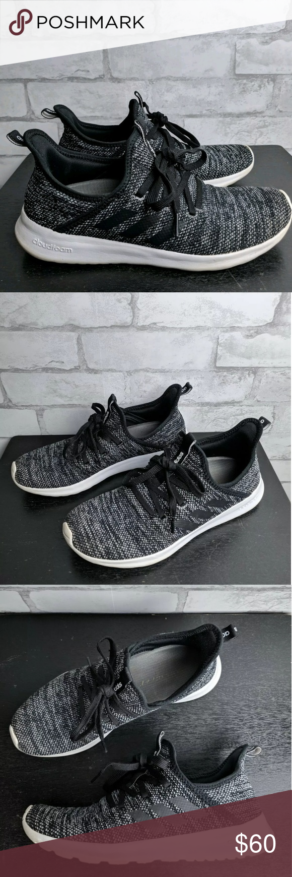 Adidas Cloudfoam Pure Sneakers Black & Gray Adidas Womens