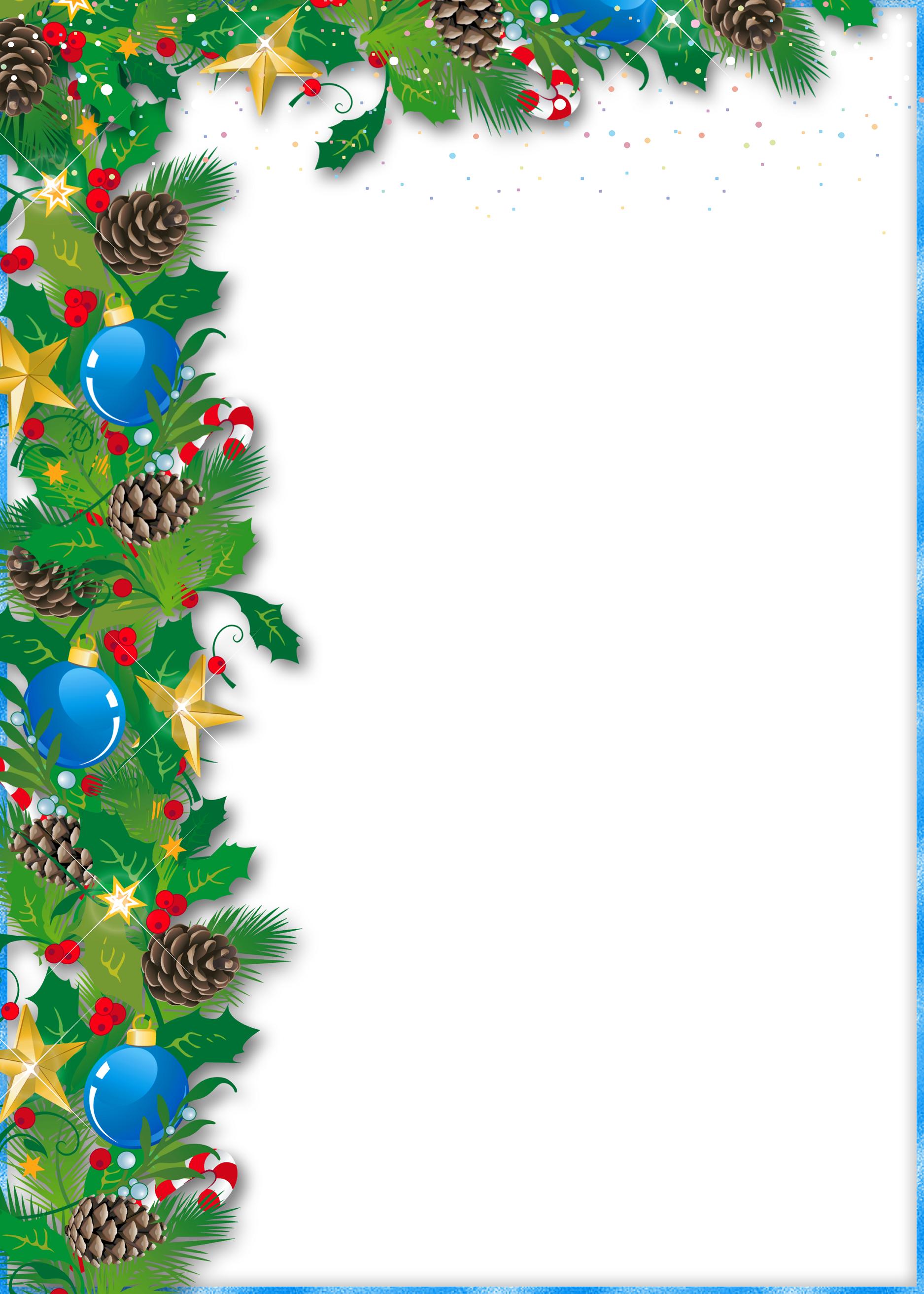 Christmas frame with ornaments and pine | Mikołajki. Boże Narodzenie ...