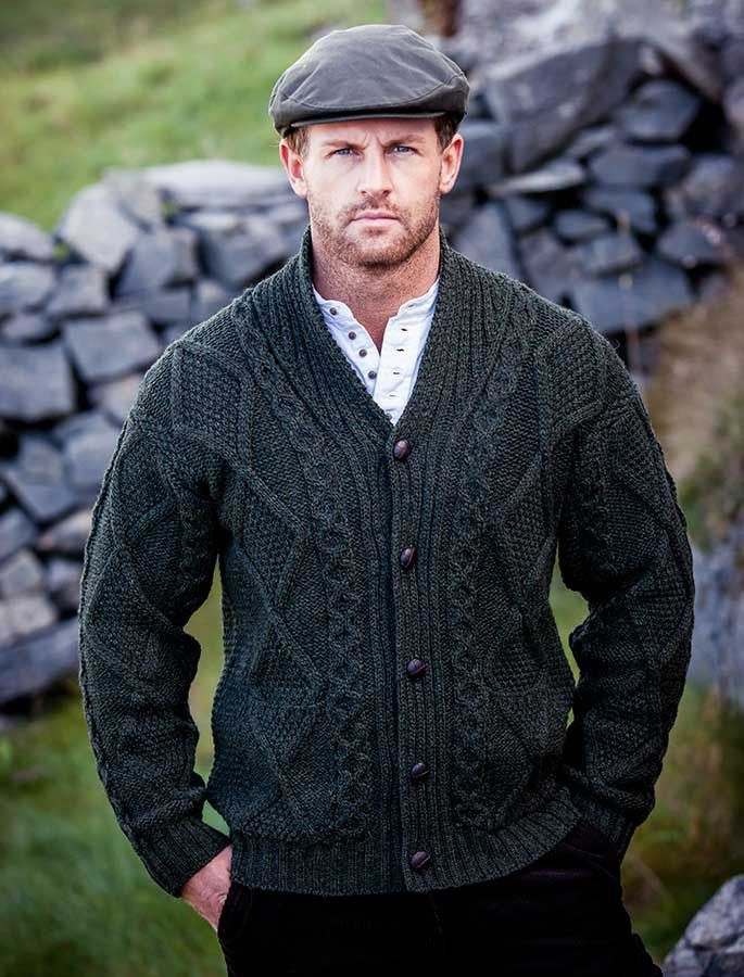 Mens Shawl Neck Cardigan, Mens wool cardigan, Aran | knitting for ...