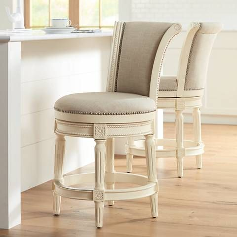 Chloe 24 Cream Fabric Scroll Back Counter Stool Counter Stools