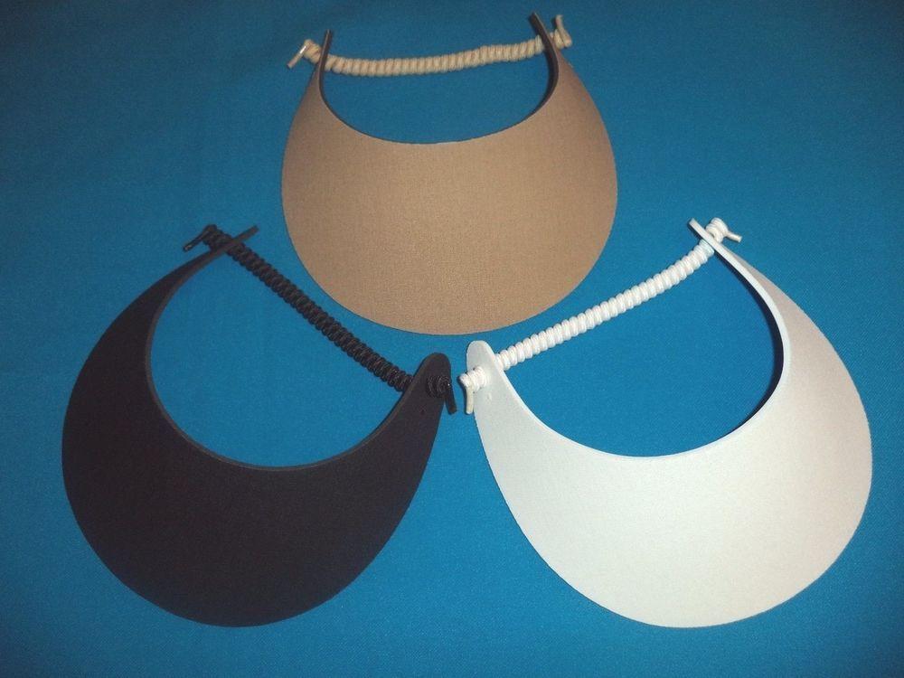 d26c4685b Women Sun Visor Hats, Foam No Headache, Black White Tan, 3-PACK ...