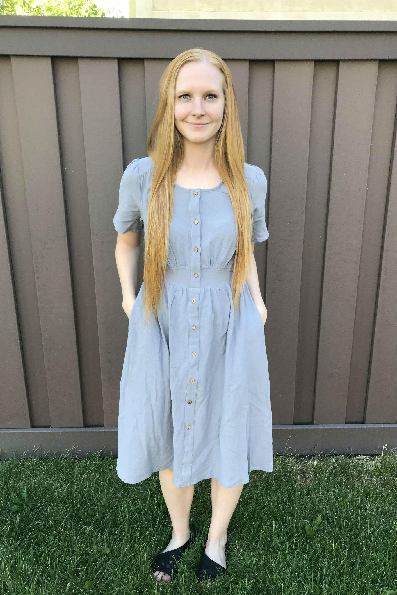 b527834f807 Lena Button Dress, modest gray dress, modest dresses, modest summer dresses,  modest nursing friendly dresses, modest spring dress, nursing friendly dress,  ...