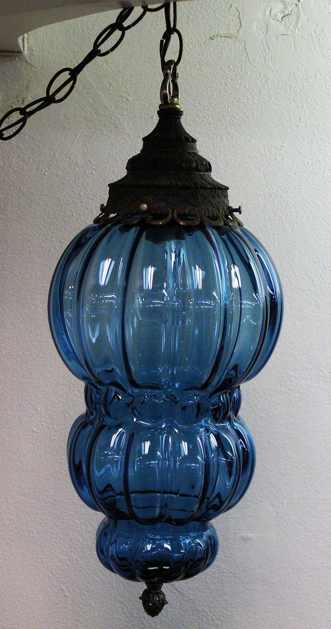 Blue Glass Hanging Swag Lamp Swag Lamp Glass Lamp Hanging Lamp
