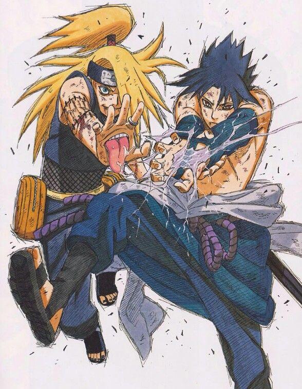 Deidara Sasuke Dessin Animé Japonais Dessin Manga Et