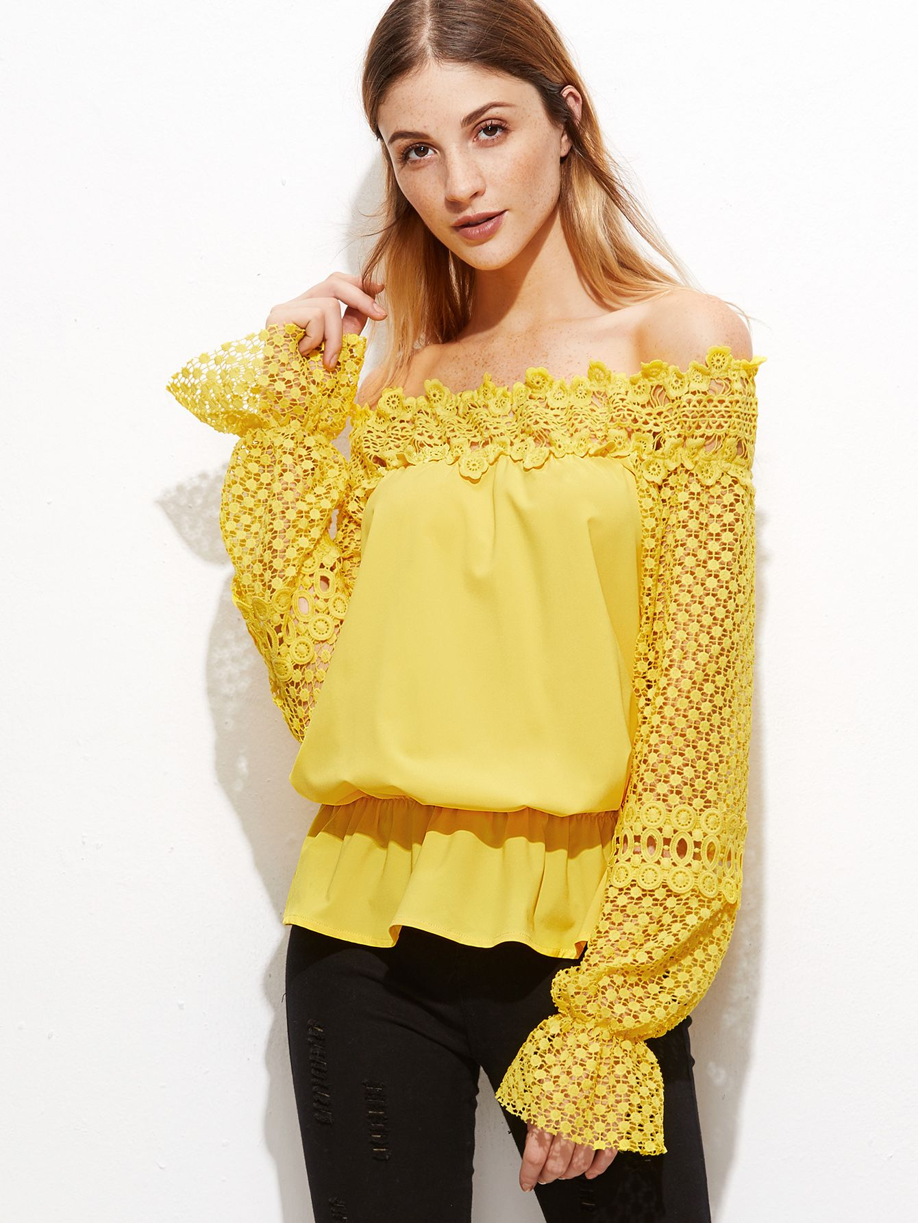 2b2867c54d25 Shop Yellow Off The Shoulder Crochet Sleeve Blouse online. SheIn offers Yellow  Off The Shoulder Crochet Sleeve Blouse   more to fit your fashionable needs.