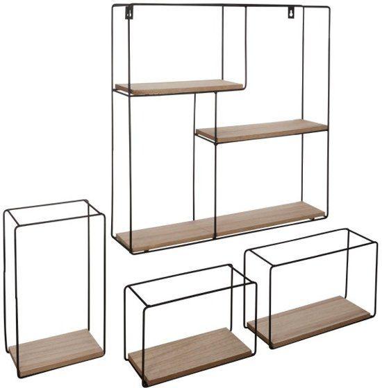 Wandplank Zwart Metaal Hout.Metalen Wandrek Vierkant Met 3 Rechthoekige Wandrekjes Wandbox