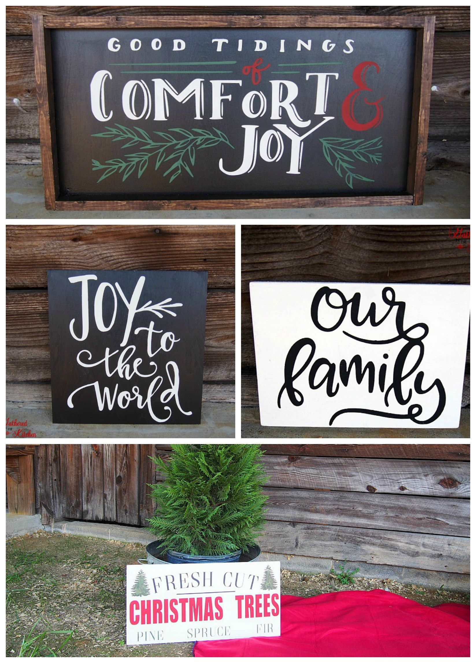 DIY Christmas Themed Winter Wooden Signs Christmas
