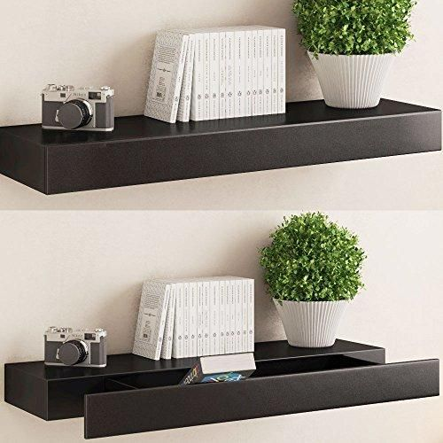 Black Floating Wall Shelf With Drawer Concealed Mounting Bracket And Hardware Included Ships Fully Embled