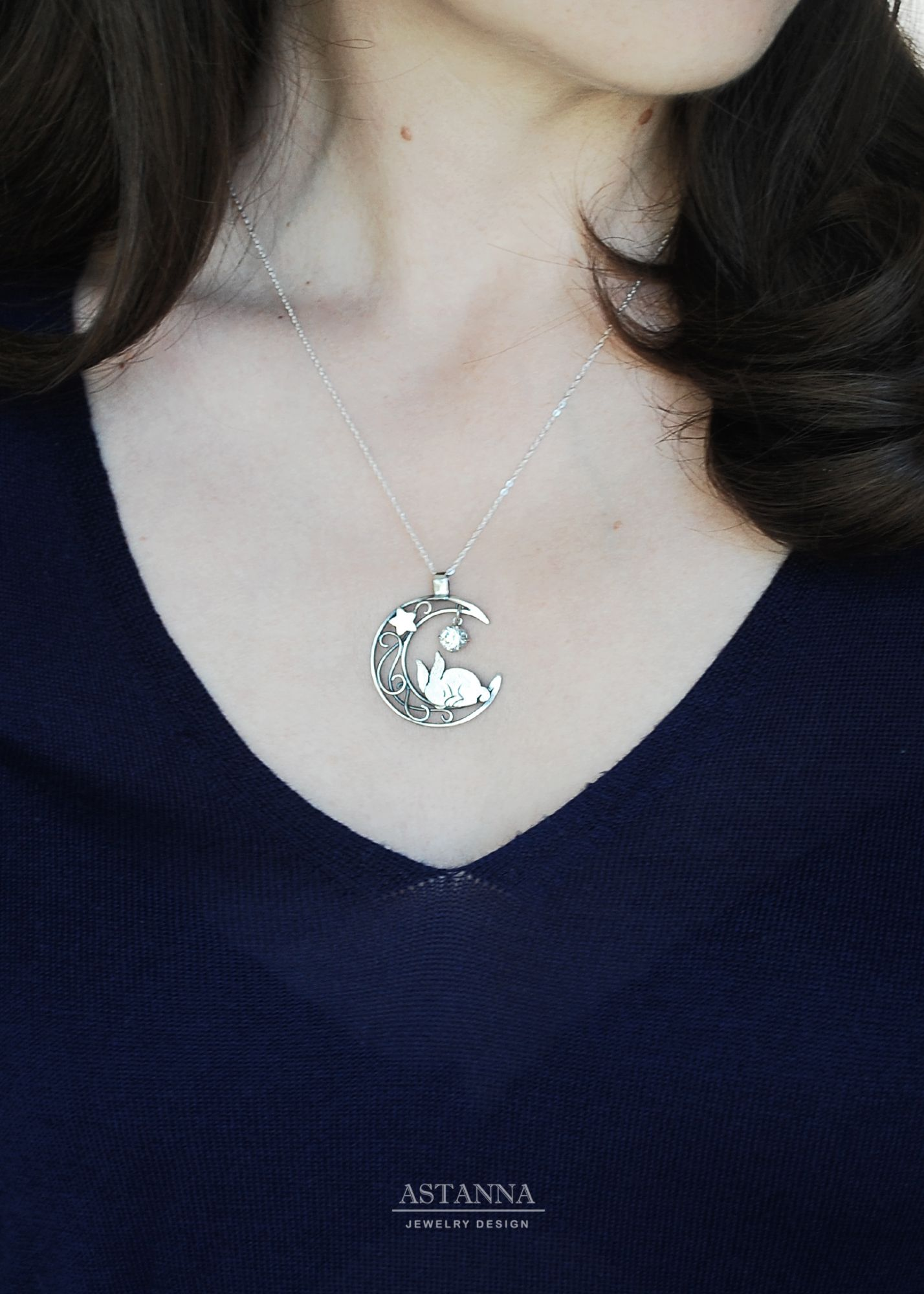 Cute bunny sleeping on the moon Sterling silver rabbit   Etsy ...