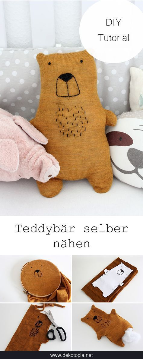 DIY instructions: sew teddy from old sweater (upcycling) -  DIY instructions with template: sew a teddy out of an old sweater (upcycling)  - #decoratingideasforthehome #DIY #diykitchenideas #diykitchenprojects #homediycrafts #instructions #Sew #sweater #teddy #Upcycling