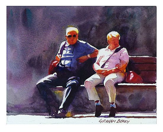 """Two on bench by Graham Berry Watercolor ~ 8"""" x 10"""""""