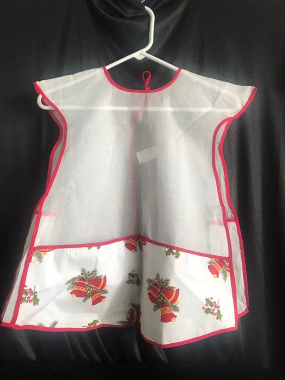 Vtg – Christmas apron – smock – bells & holly – front pocket – Christmas smock- Adult