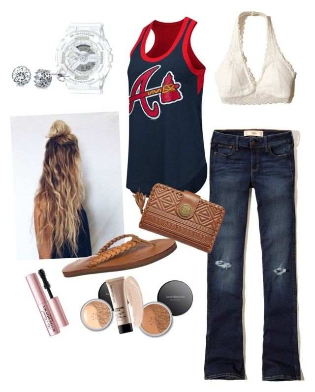 """""""Outfit"""" by madisonbrown904 on Polyvore featuring Rainbow, Hollister Co., G-III, Billabong, Bare Escentuals, Too Faced Cosmetics, G-Shock and BERRICLE"""