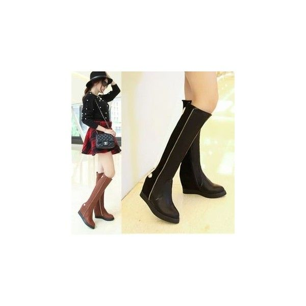 Zip Accent Hidden Wedge Tall Boots (284.185 COP) ❤ liked on Polyvore featuring shoes, boots, footware, over-the-knee boots, tall boots, black thigh boots, thigh high boots, black over the knee boots and over the knee high heel boots