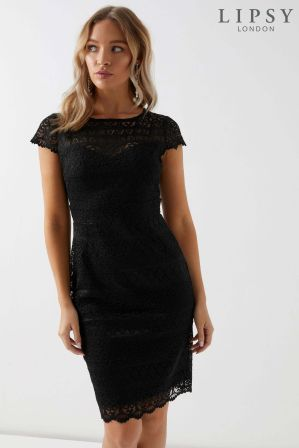 78d8ea176a426a Womens Lipsy All Over Lace Cap Sleeve Bodycon Dress - Black ...