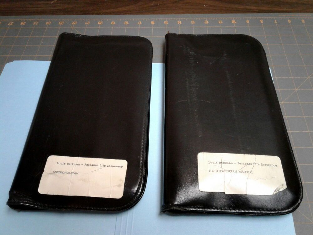 2 Leather Zippered Document Wallet Holders Black Accordion Style