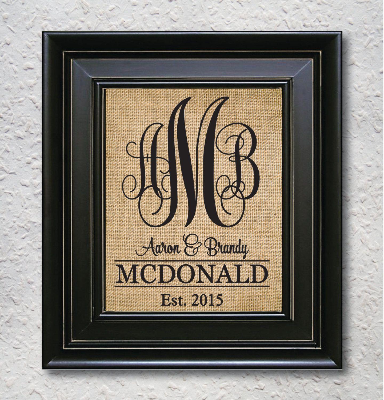 VINE Monogram Wedding MonogramMONOGRAM PRINT Bridal Shower Decor Burlap Sign