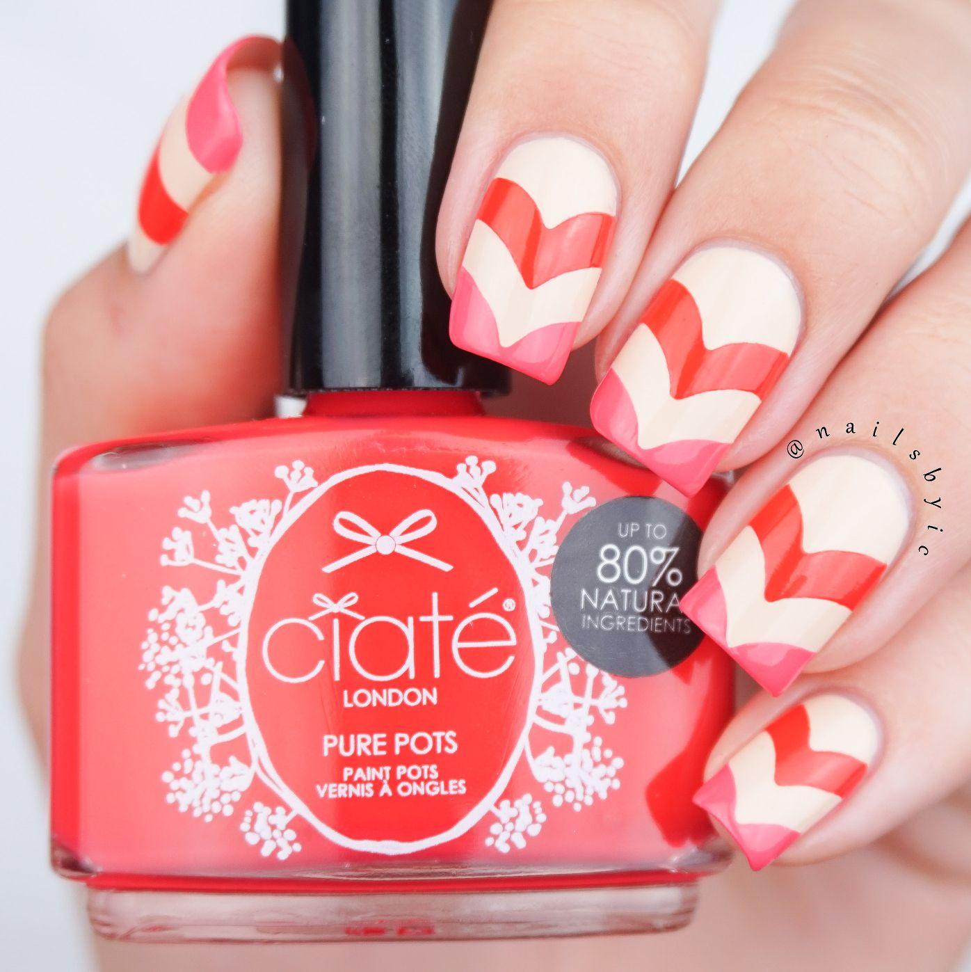 Ciaté Pure Pots chevron nail art. Review of the Ciaté Pure ...