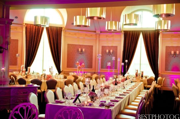 Indian Wedding Reception Dinner Table Setting Purple Pink
