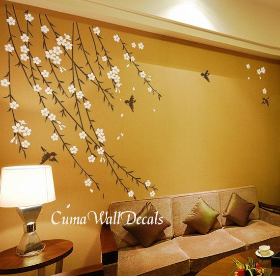 cherry blossom wall decals flowers vinyl wall decals wall mural ...