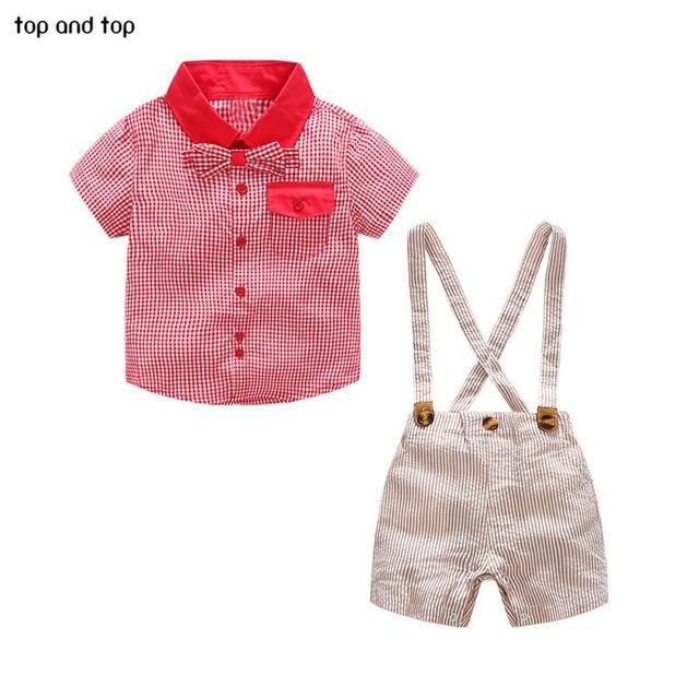 b4ec13f30 Baby Boys Gentleman Clothing sets Red Plaid Bow tie Shirt+Overalls shorts 3  pcs /set Newborn Boy Party Clothes suits