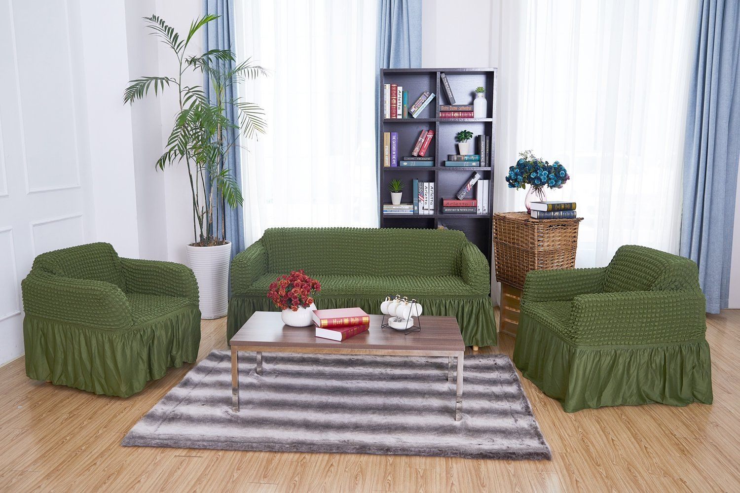 Niceec 1piece Stretchable Easy Fit Sofa Cover Durable Furniture Slipcover In Country Style Made Of Mach Furniture Slipcovers Durable Furniture Sofas And Chairs