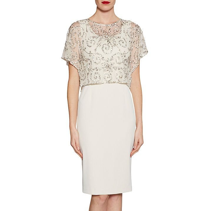 Buy Gina Bacconi Crepe Dress With Beaded Over Top, Butter Cream, 8 Online at johnlewis.com