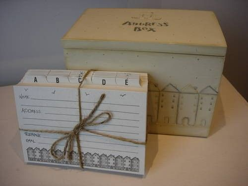 East of India Wooden Address Box With Index Cards
