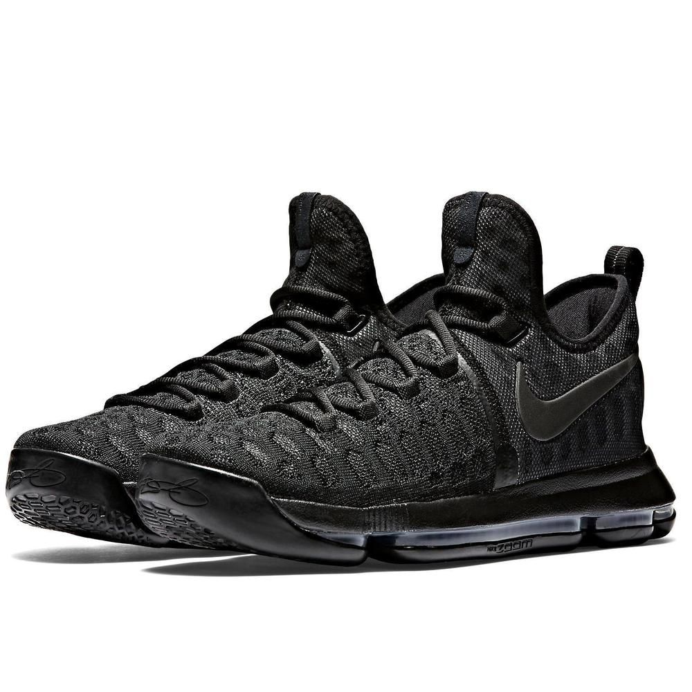Nike KD 9 Mens Basketball Shoes 9.5 Triple Black Anthracite