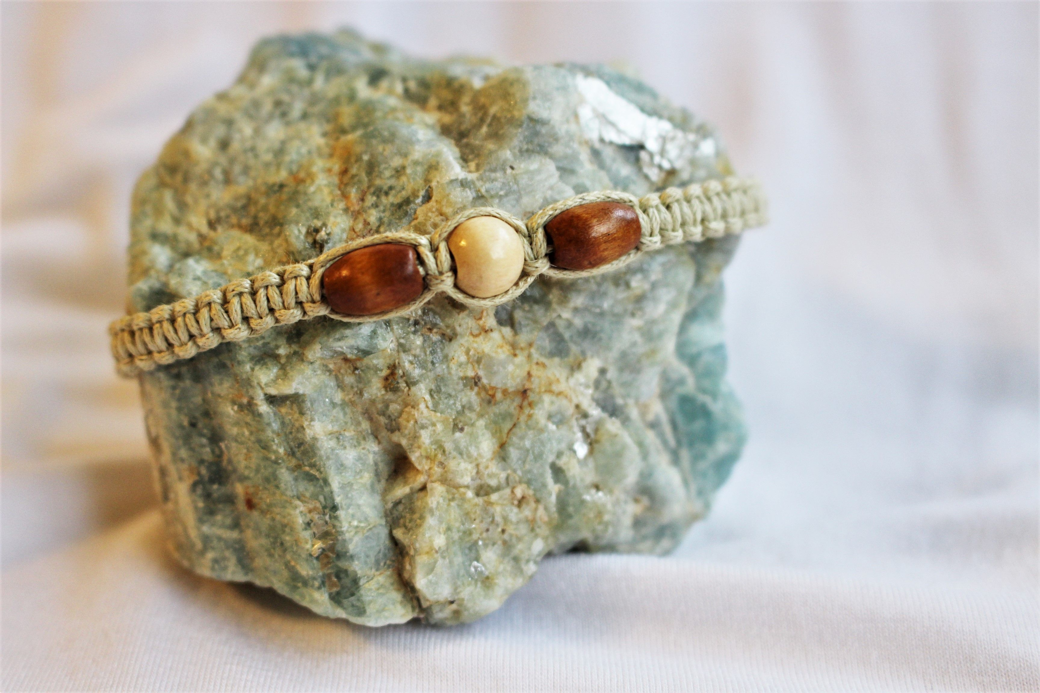 Brown and White Beaded Macrame Bracelet
