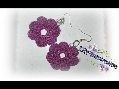 5fbe2bc2ae8a Como hacer pendientes o aretes tejidos a crochet paso a paso.   how to make  crochet earings - YouTube