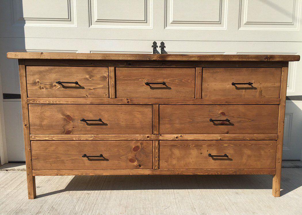 Farmhouse 7 Drawer Dresser Sideboard Long For
