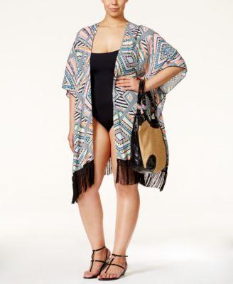 c928547726d01 Jessica Simpson Plus Size Venice Beach Tribal-Print Kimono Cover-Up ...
