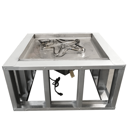 30 Round Fire Pit Frame W 4 Wide Deck Manual Gas Burner Fire Pit Frame Square Fire Pit Fire Pit Accessories