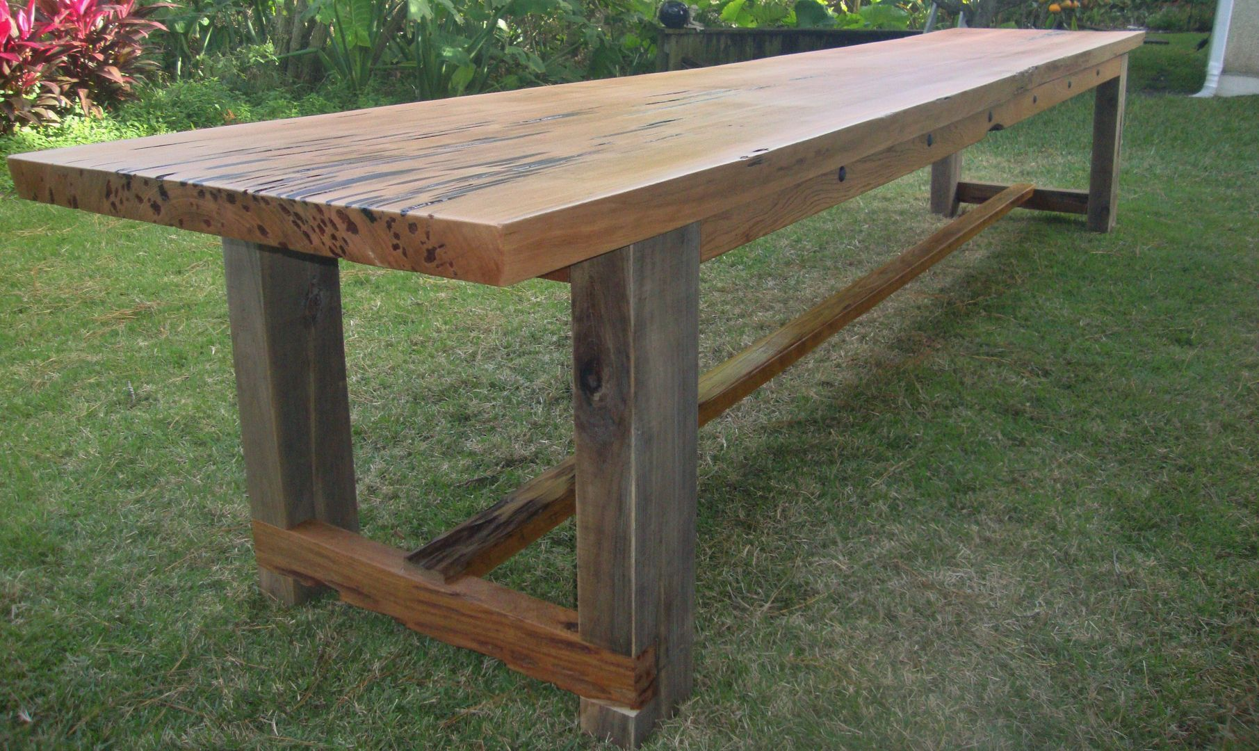 Pin By Gmorgan Designs On All Sorts Of Tables Wood Patio Table Wood Patio Big Table