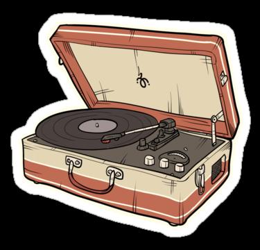 Vintage Record Player Sticker By Jonahvd Mesin Tik Desain Stiker Stiker Lucu
