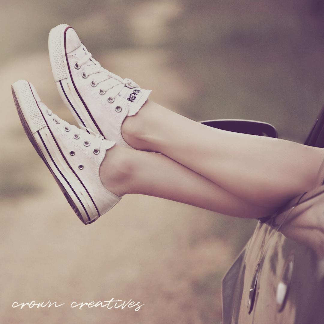 Light pink and gold sneaker minimalist branding aesthetic.