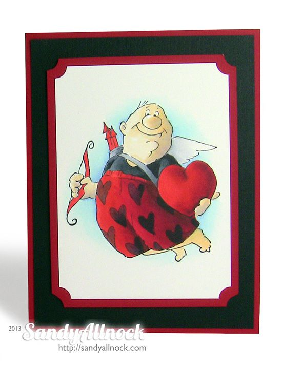 Sandy Allnock - AI Love is in the air Art Impressions Valentine's Day card with adorable cupid!