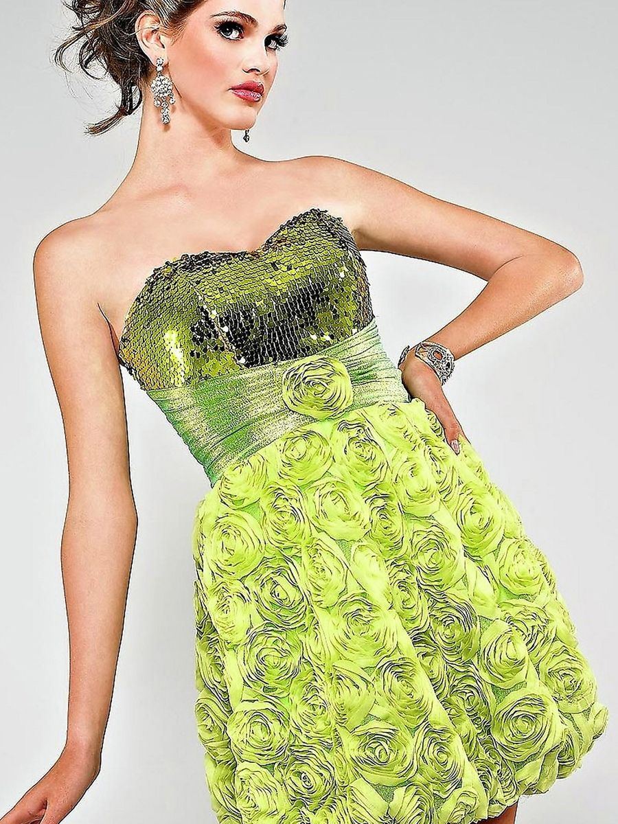 Sheath short length kelly sequined bodice and tulle skirt floral