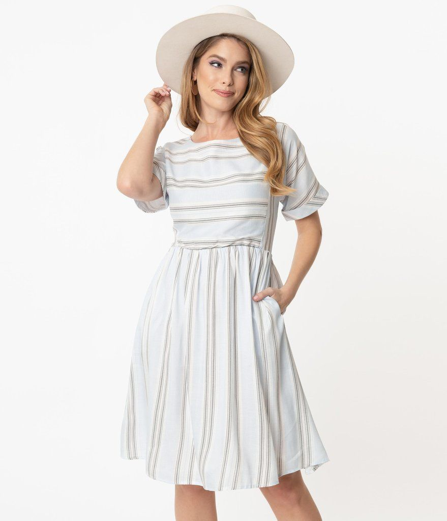 Retro Style Light Blue White Stripe Aspen Fit Flare Dress In 2021 Fit Flare Dress Retro Style Light Flare Dress [ 1023 x 879 Pixel ]
