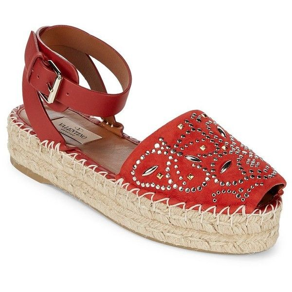 VALENTINO GARAVANI Retro Style Leather Espadrilles (1.070.555 COP) ❤ liked on Polyvore featuring shoes, sandals, valentino sandals, espadrille sandals, espadrille wedge sandals, leather sandals and black platform sandals