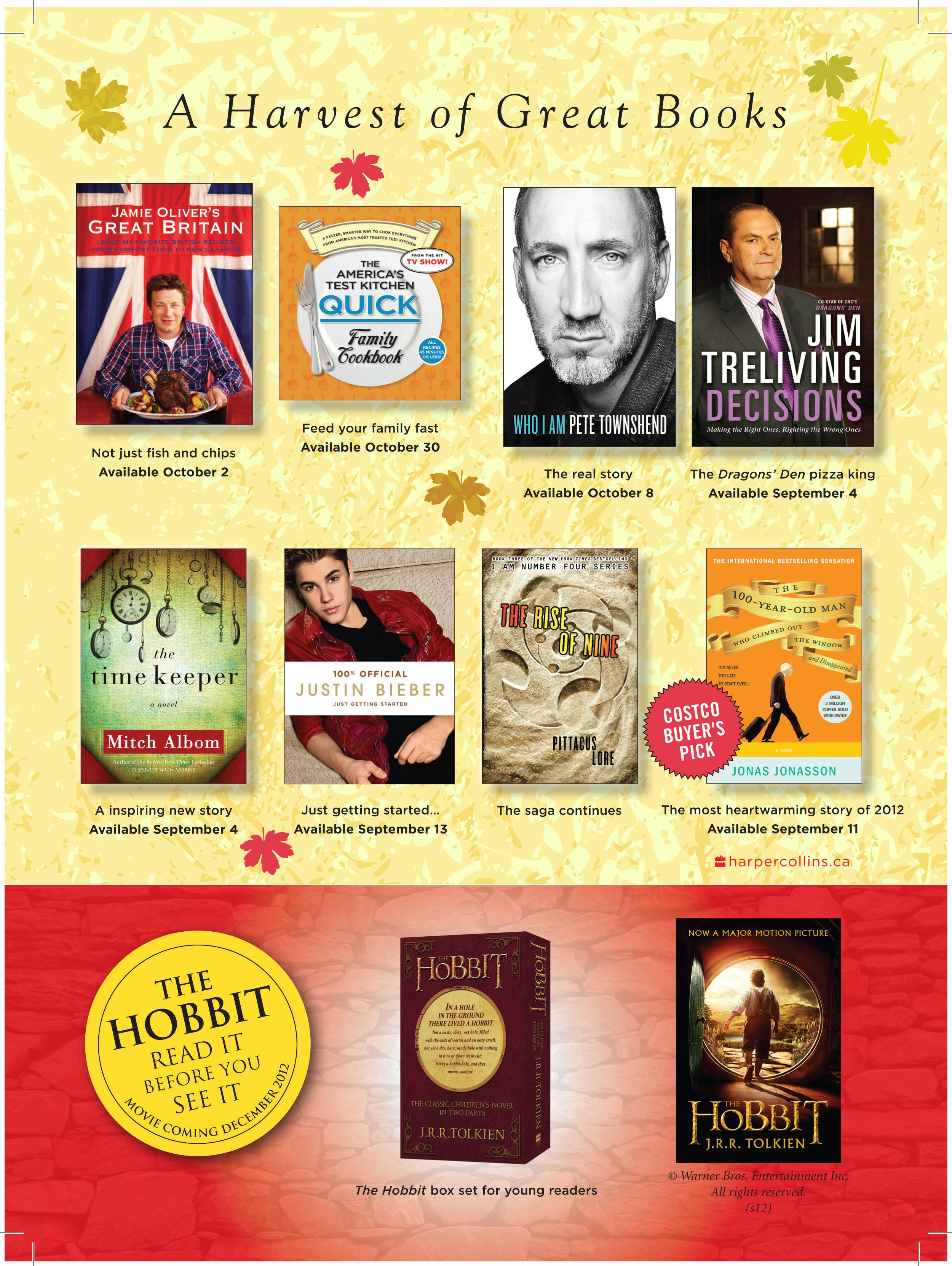 A harvest of great books from HarperCollins Canada for Fall 2012. Fall into reading!