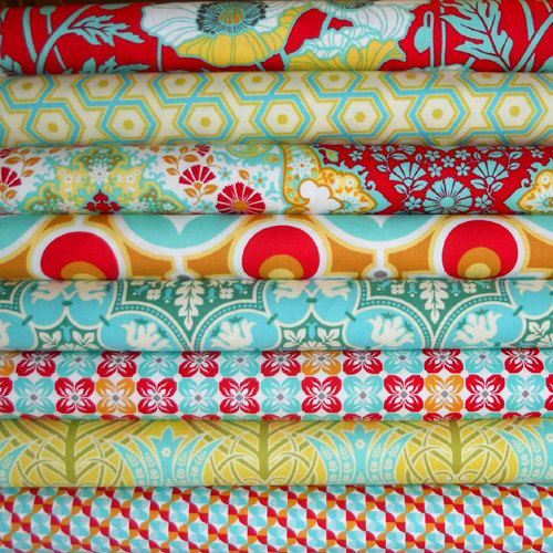 Joel Dewberry Fabric Bundle - NOTTING HILL for Free Spirit - Poppy Palette - Half Yard Bundle of 8 - 4 Yards Total