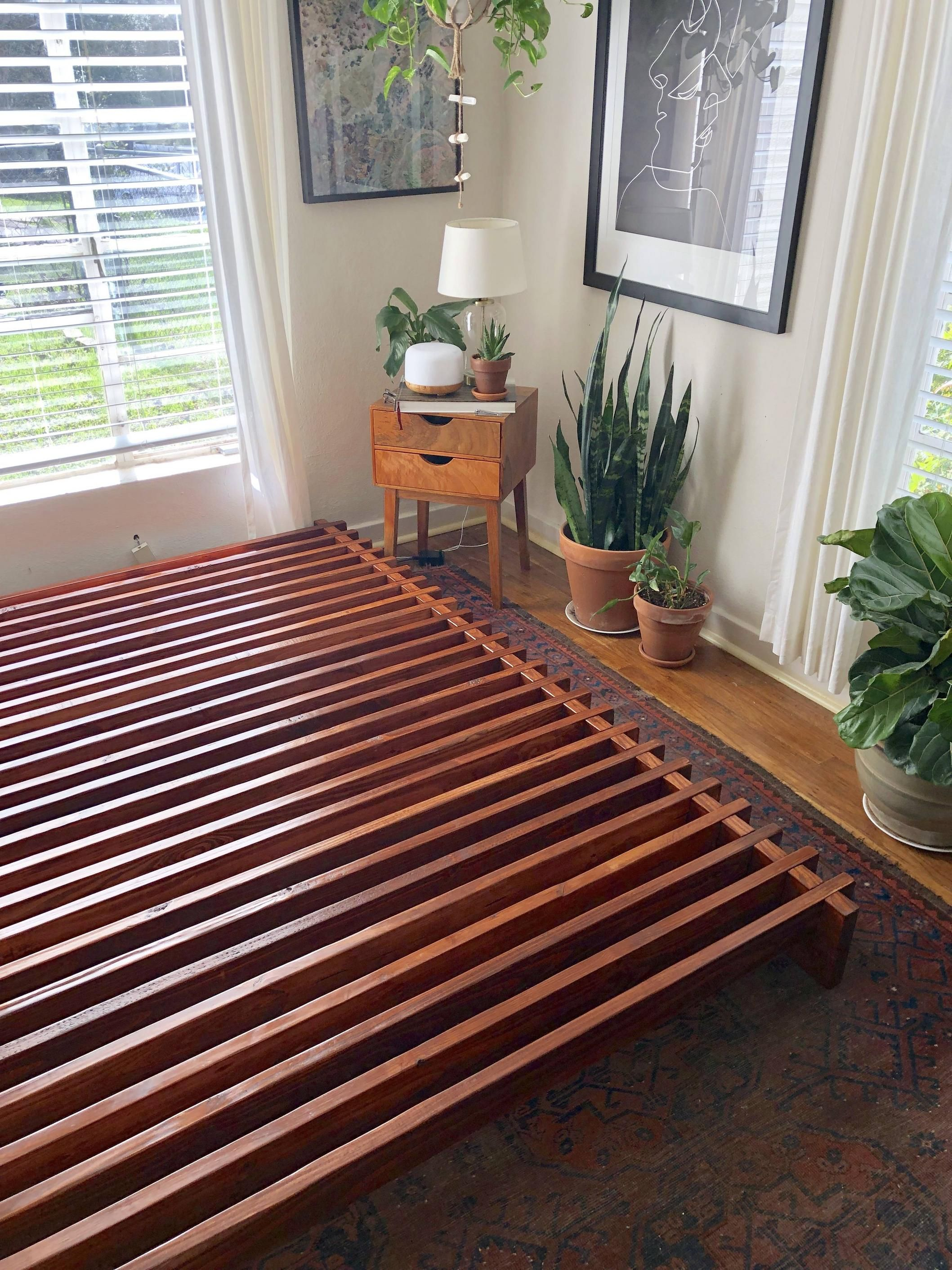 First diy woodworking project slatted queen bed frame