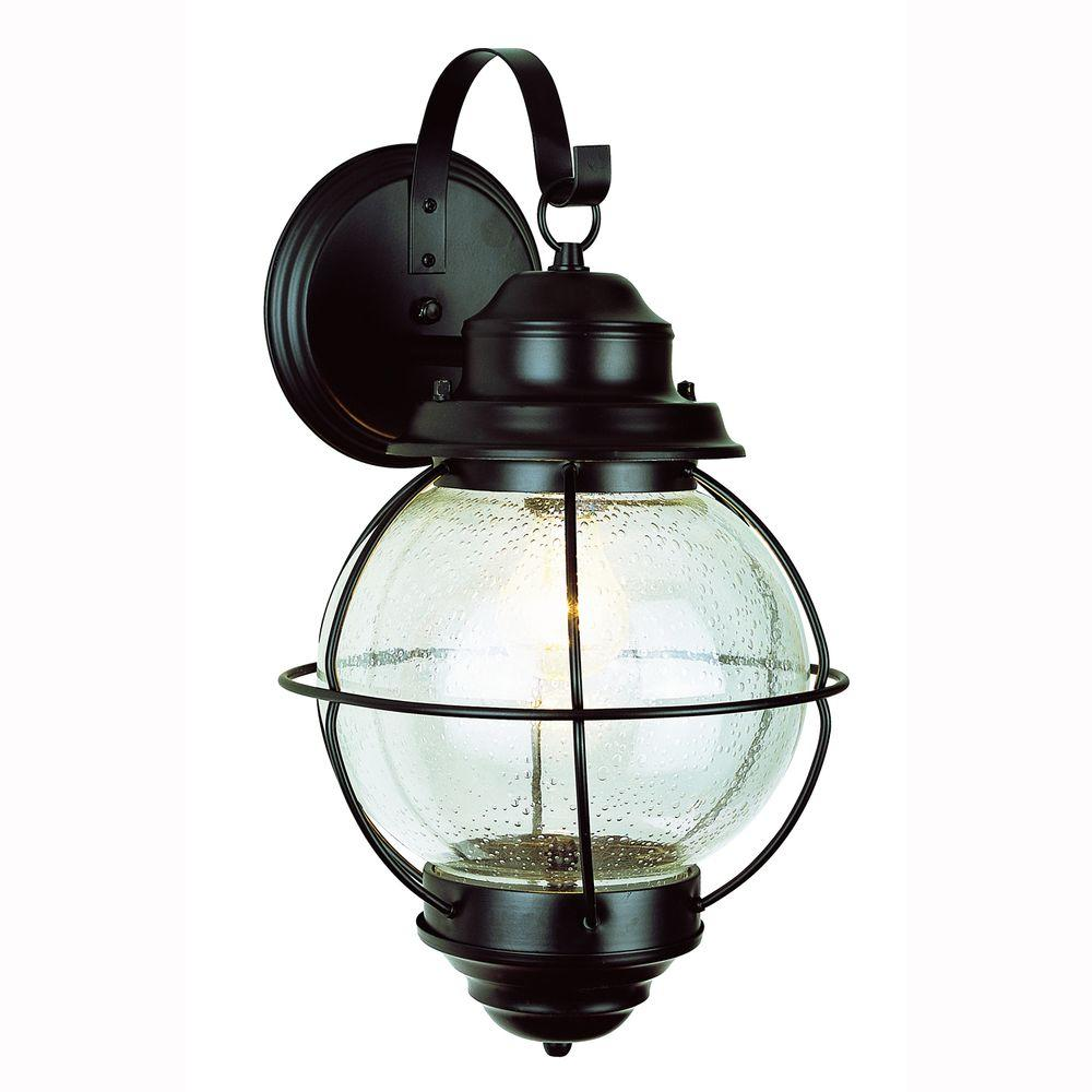 Bel Air Lighting Lighthouse 1 Light Black Outdoor Coach Wall Lantern Sconce With Seeded Glass 69904 Bk Outdoor Sconces Outdoor Wall Lamps Wall Lantern