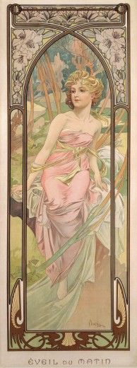 """art poster """"The Times of the Day: Morning Awakening"""" by Alphonse Mucha (1899)"""