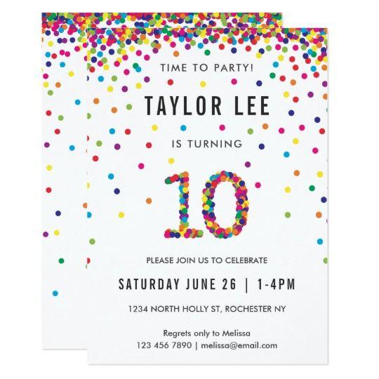 Rainbow 10 Year Old Birthday Party 10th Invitation