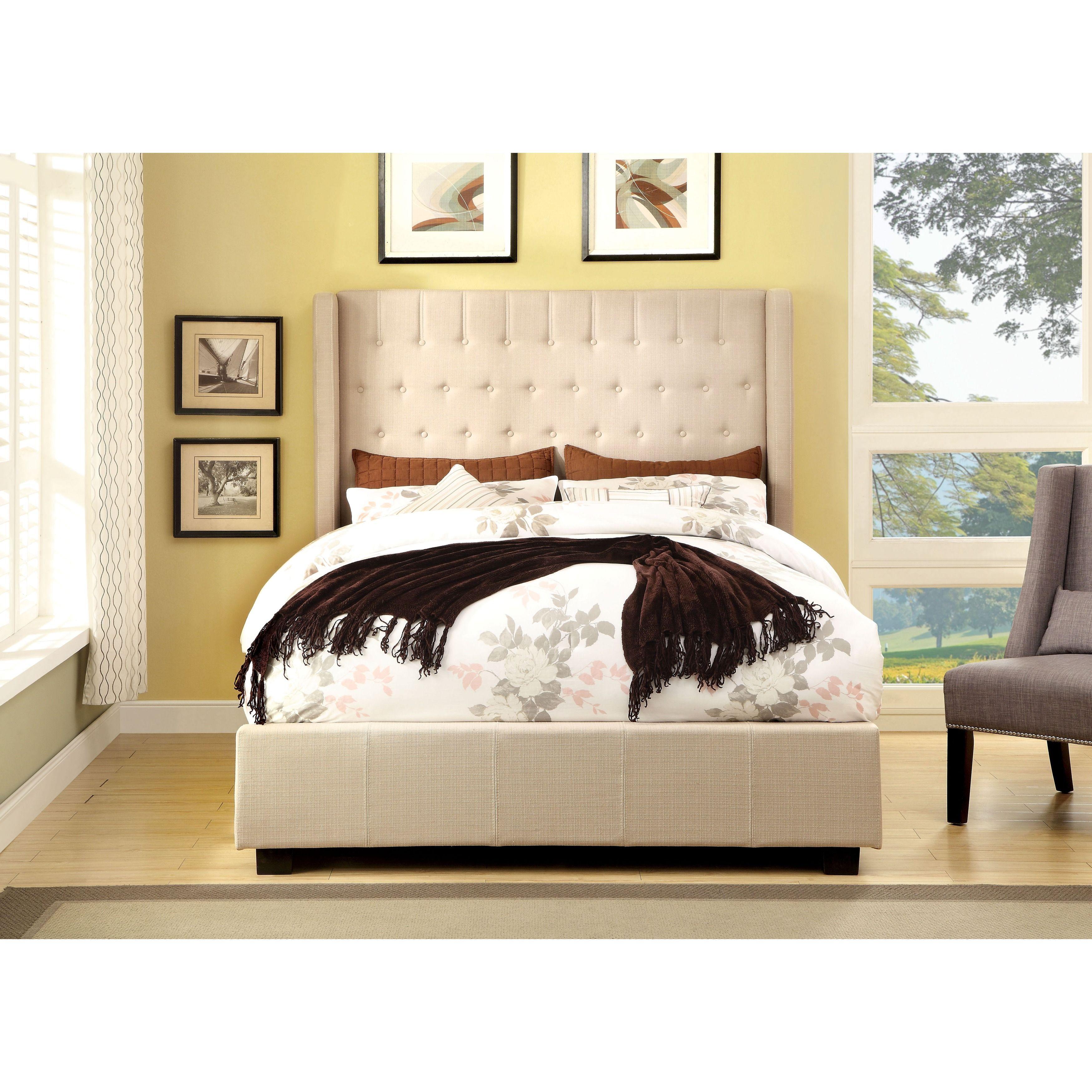 Furniture of America Carmella Wingback Low-profile Bed (Green - Queen)
