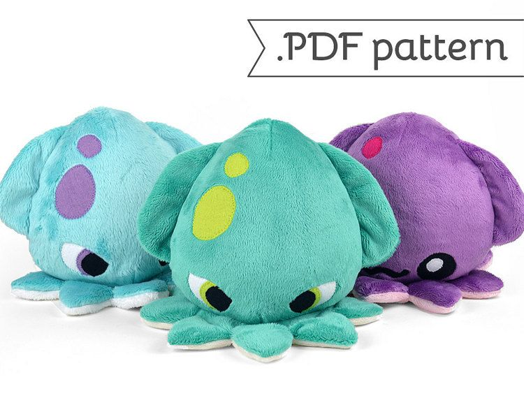 Kraken Squid Plush .pdf Sewing Pattern | Fimo, Nähideen und Figuren